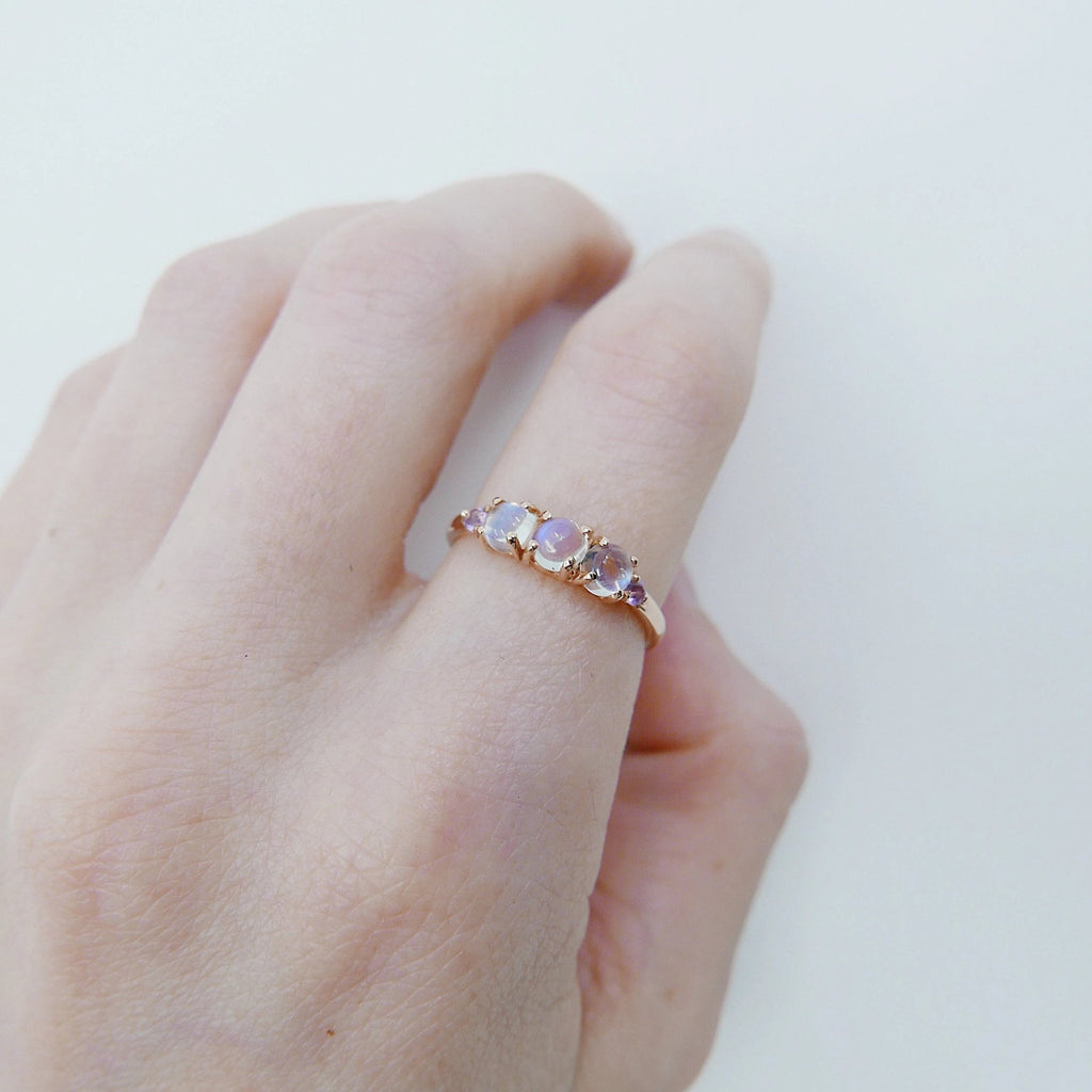 Hailey Moonstone Five Stone Ring, Moonstone and Amethyst band, 14k gold glowing stone ring, five stone ring, cabochon moonstone ring