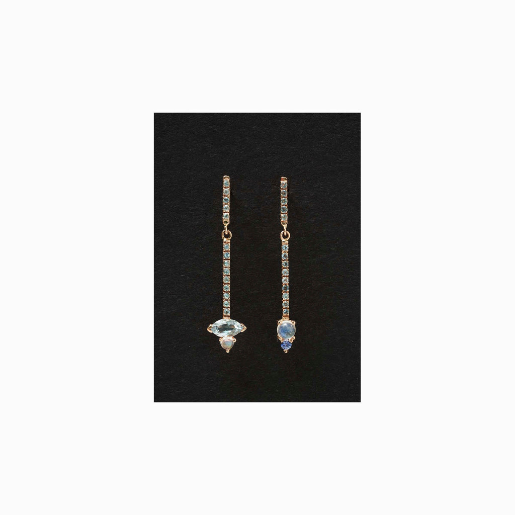 Sticks and Stones Marquee Duo Earring, 14k Gold Moonstone and Aquamarine Bar Earring, 14k Gold Blue Topaz Dangle Earring
