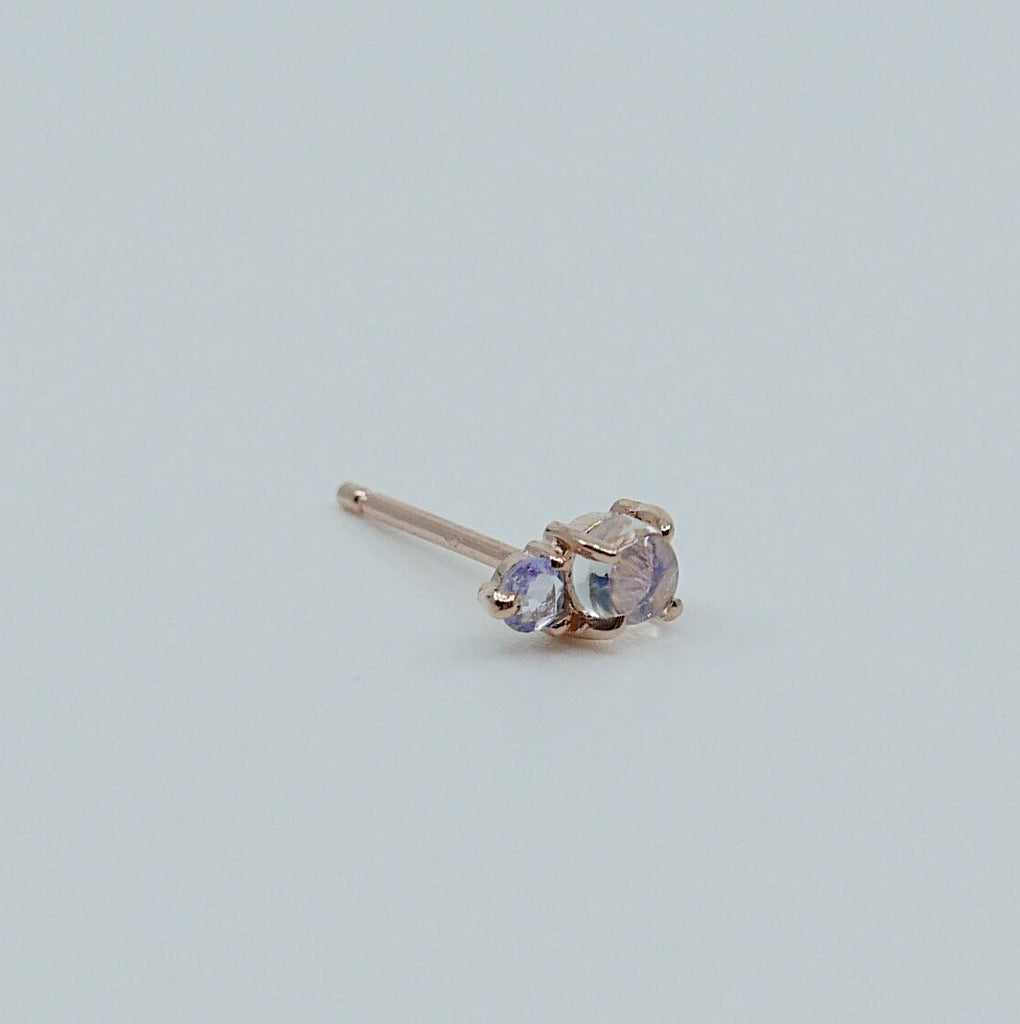 Duo Moonstone and Tanzanite Stud Earring, Moonstone and Tanzanite Post, Mini Moonstone and Tanzanite Earrings