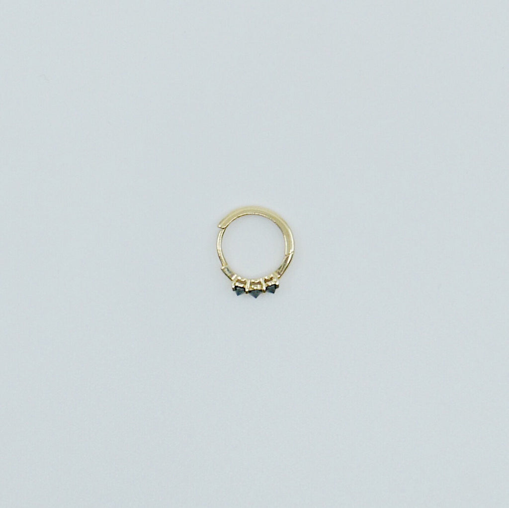 Studded Black Diamond Mini Hoop, small 14k gold hoop, small mini three stone black diamond gold hoop, gold hoops, gold pearl huggie