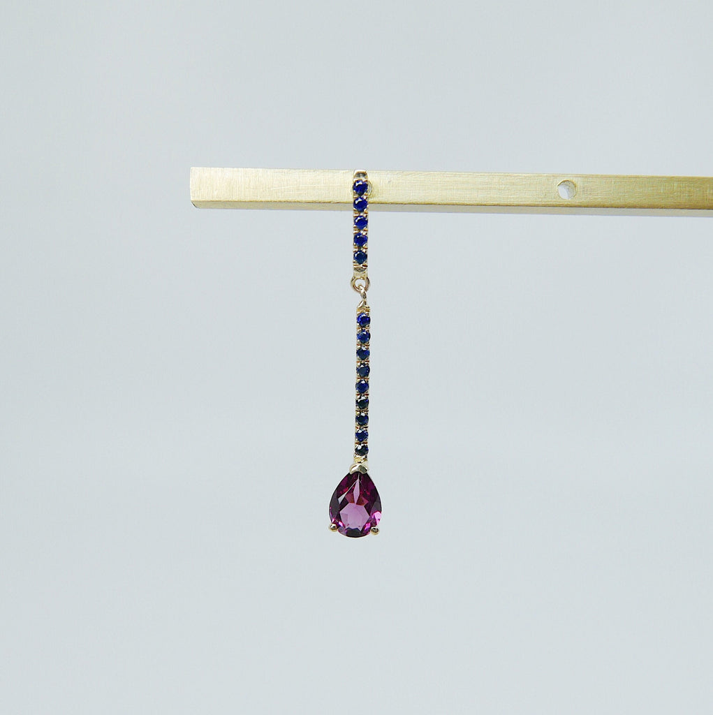 Sticks and Stones Pear Duo Earring, 14k Gold Rhodolite Garnet Bar Earring, 14k Gold Sapphire Dangle Earring