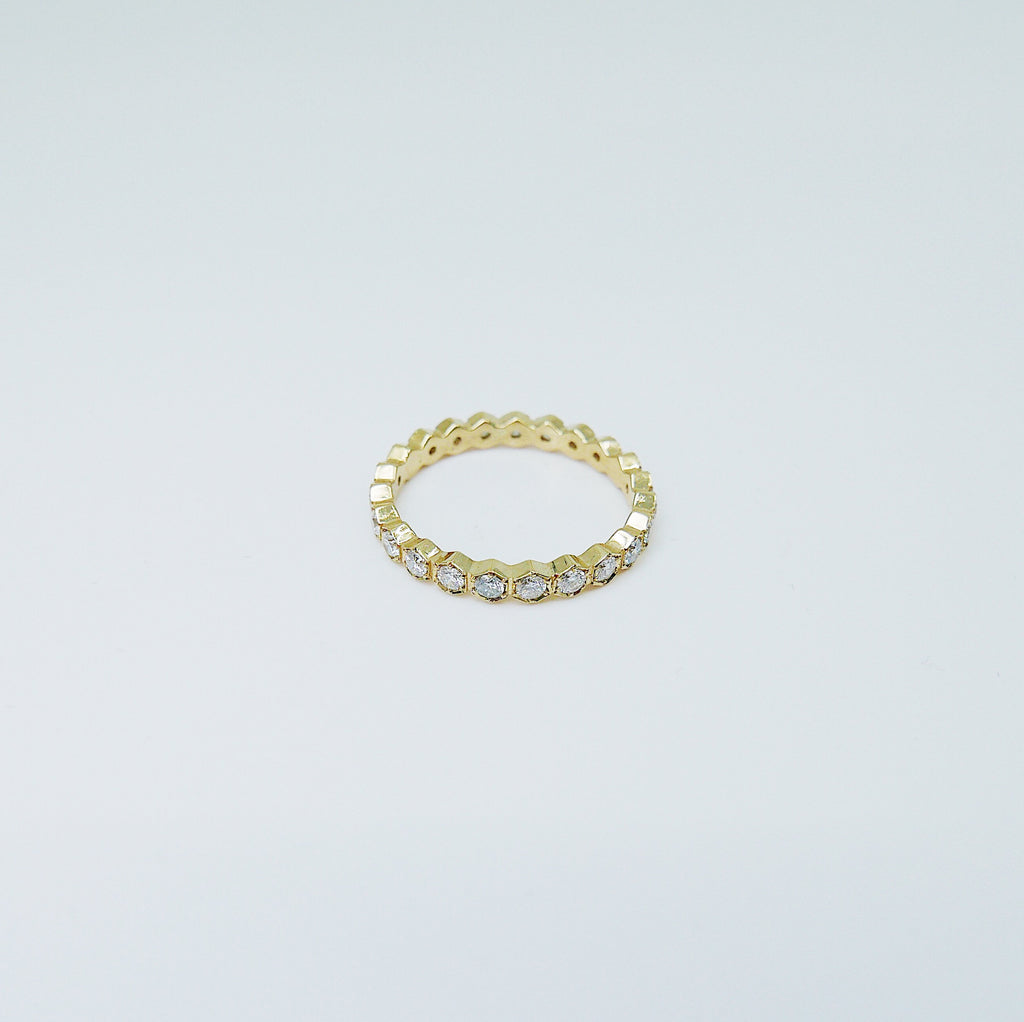 Hexagon Diamond Eternity band, diamond stacking band, wedding band, infinity Geometric ring, diamond infinity ring, 14k gold, 18k gold ring