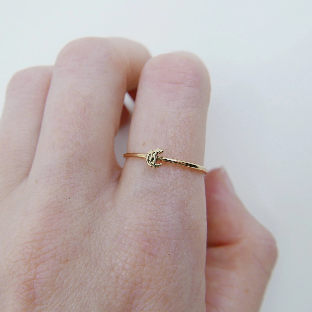Old English Initial Ring, Letter ring, Initial ring, Old English letter ring, minimal ring, minimalistic ring, minimalist ring