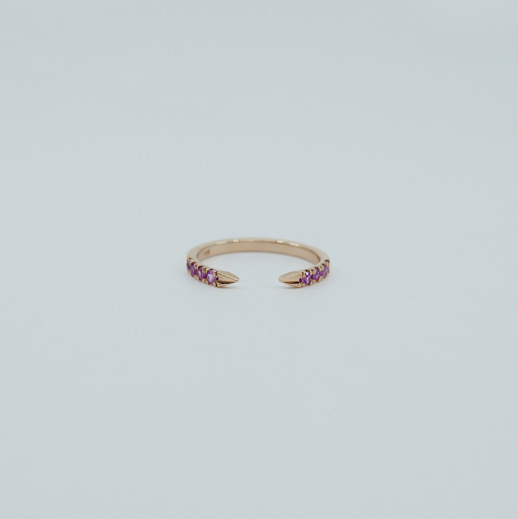On Pointe ring, open grey diamond cuff ring, ruby ring, pink sapphire ring, pointed cuff ring, stacking ring, wedding band