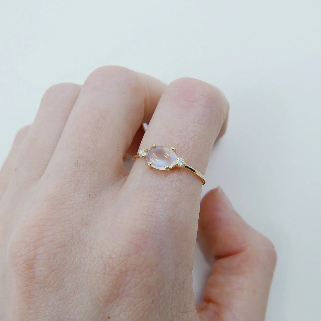 SALE! Oval moonstone ring, three stone ring, moonstone and diamond ring, 14k gold moonstone ring, east west ring