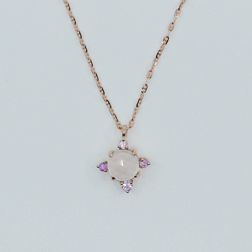 Compass Rose Quartz Necklace, round rose quartz necklace, 14k gold rose quartz cross necklace, pink sapphire necklace, pendant necklace