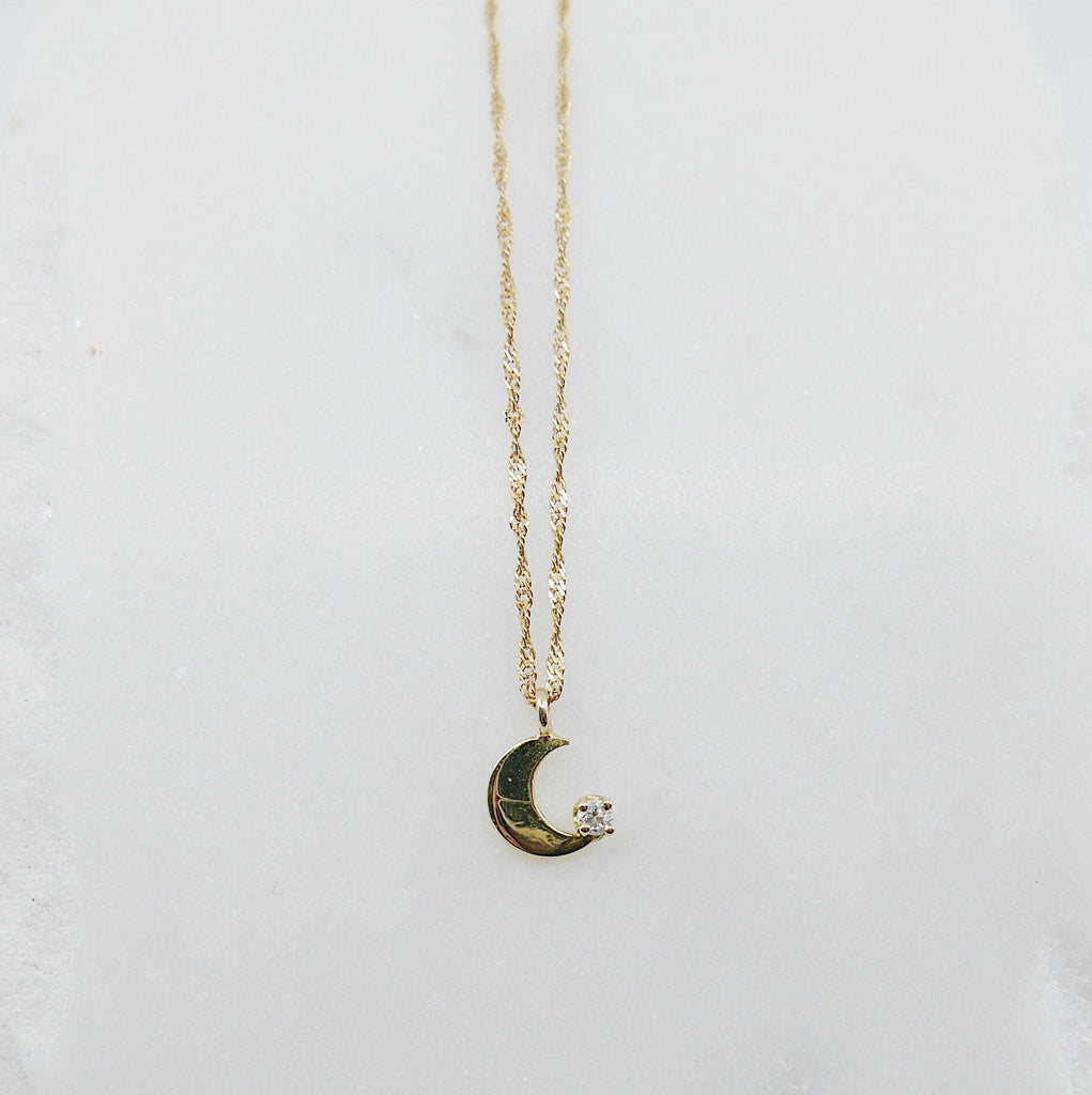 Crescent Moon Diamond Necklace, small moon Necklace, Diamond Moon Necklace, Diamond Moon, Moon Necklace, Crescent necklace, twist chain
