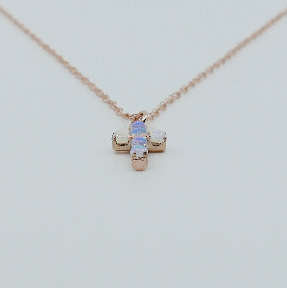 Cross Opal Necklace, 14k Gold Crucifix necklace, Small 14k cross necklace, opal cross, Dainty gold cross necklace