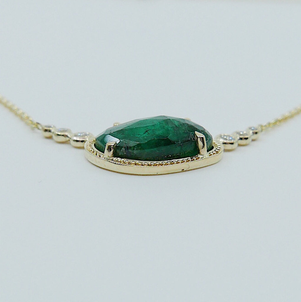 Ellipsis Emerald and Diamond Necklace, One of a kind unique gold emerald Necklace, green emerald Necklace, diamond necklace