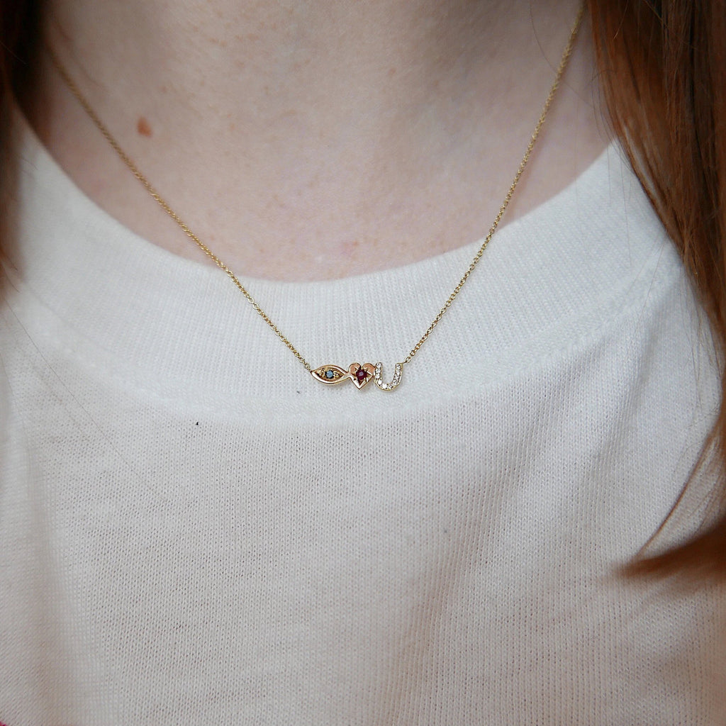 Eye Love U Necklace, 14k Gold Eye Love U Necklace, Black Diamond Necklace, Ruby Necklace, Diamond necklace, Love You necklace, I love you