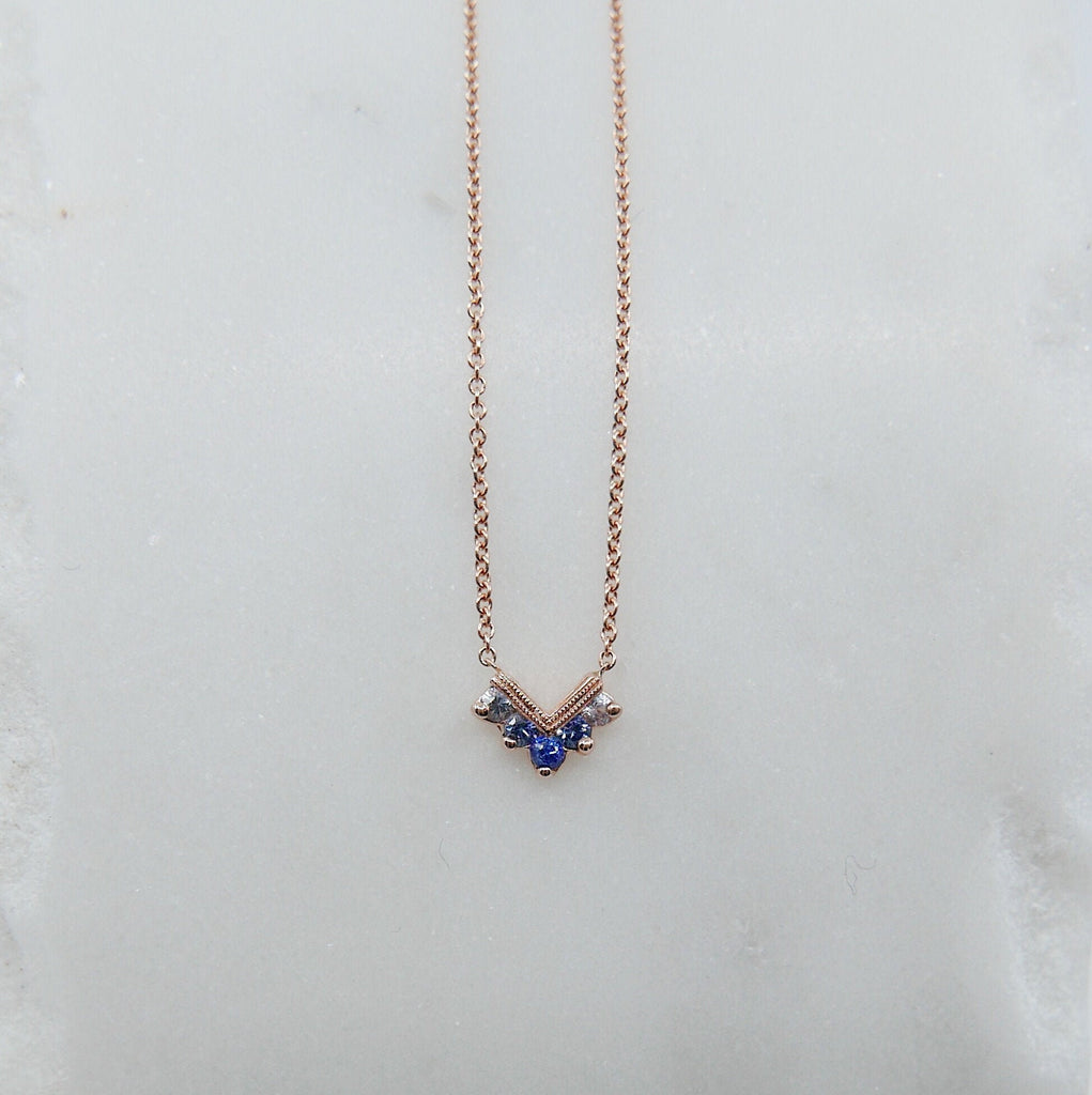 Chevron Sapphire Ombre Necklace, Sapphire Necklace, Chevron Necklace, 14k Gold chevron necklace, Blue Sapphire Necklace, Blue Necklace
