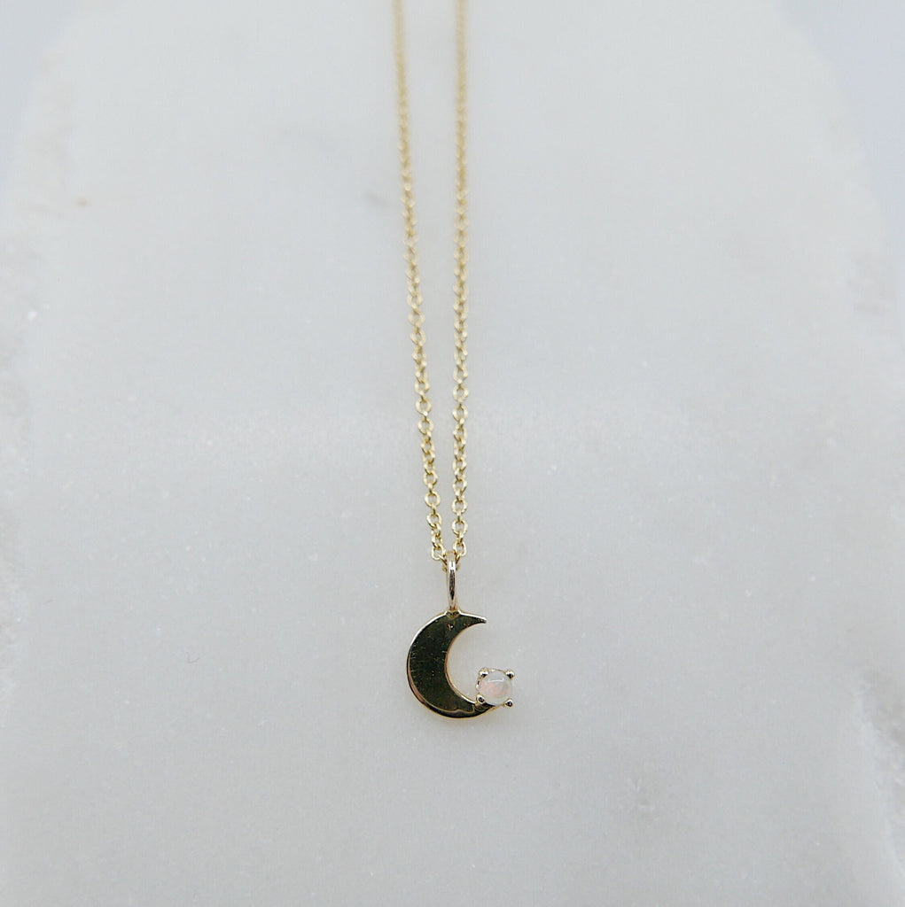 Crescent with Opal necklace, small moon Necklace, Opal Moon Necklace, Opal Moon, Moon Necklace, Crescent necklace