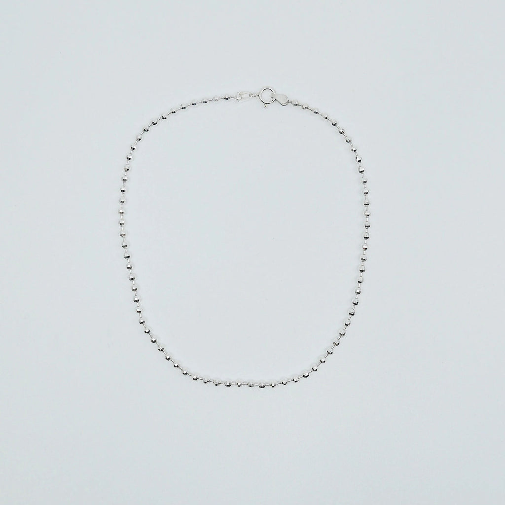 Discotheque choker, faceted ball chain choker, silver choker, diamond cut silver choker, Silver chain choker