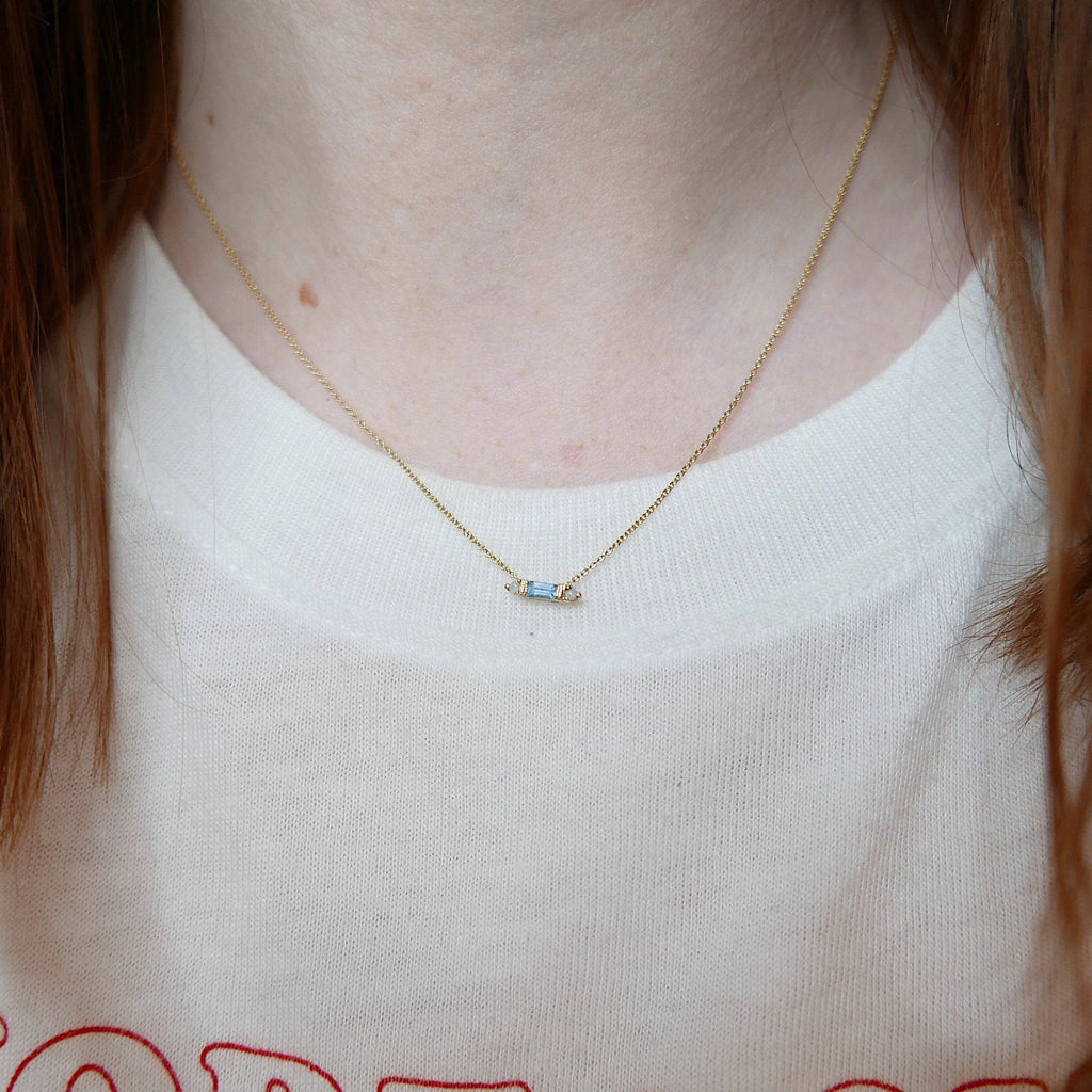 Grand Baguette Aquamarine Necklace, Blue Aquamarine Necklace, Opal Necklace, Baguette Aquamarine, Diamond Necklace