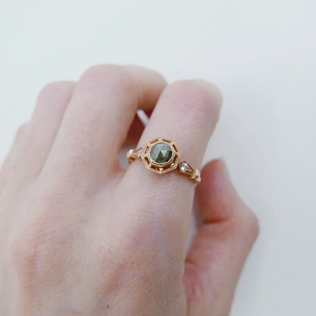 Webbed Eloise Rose Cut Charcoal Grey Diamond Ring, One of a Kind Ring, OOAK, 14k rose gold ring, vintage inspired ring, rustic diamond ring