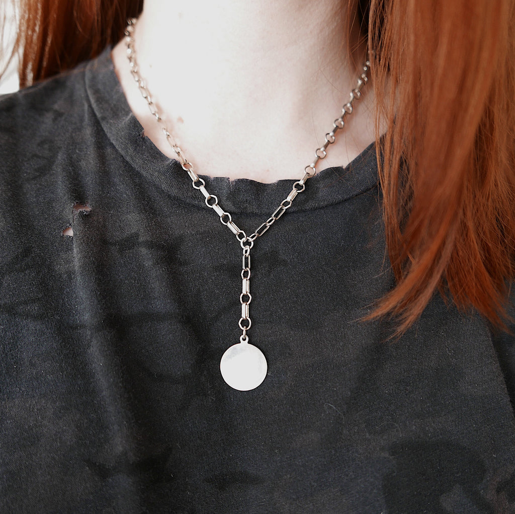Large Coin Chain Lariat Necklace, Coin necklace, sterling silver, personalized coin necklace, personalized necklace, lariat chain necklace