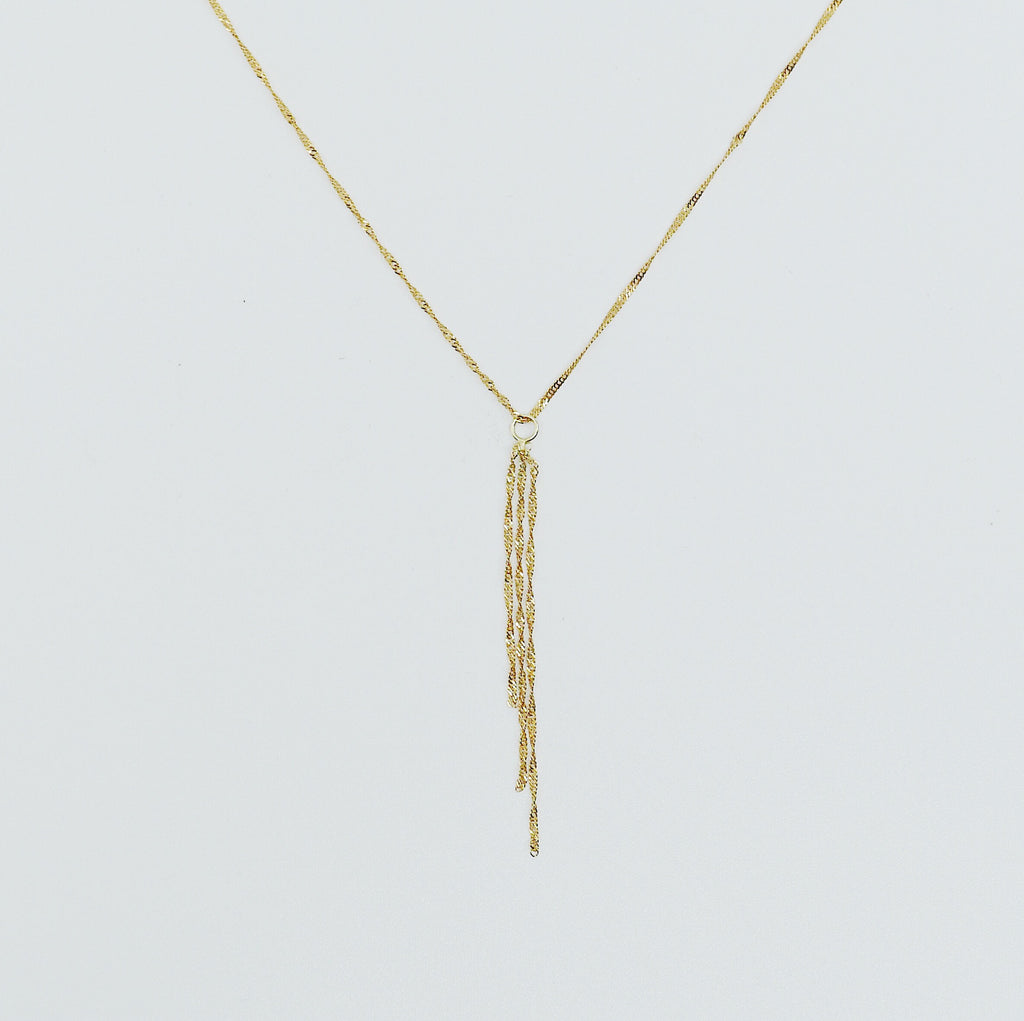 Pirouette Fringe Necklace, Thin shiny 14k gold chain, 14k gold chain, short gold necklace, gold choker, thin dainty choker, fringe necklace
