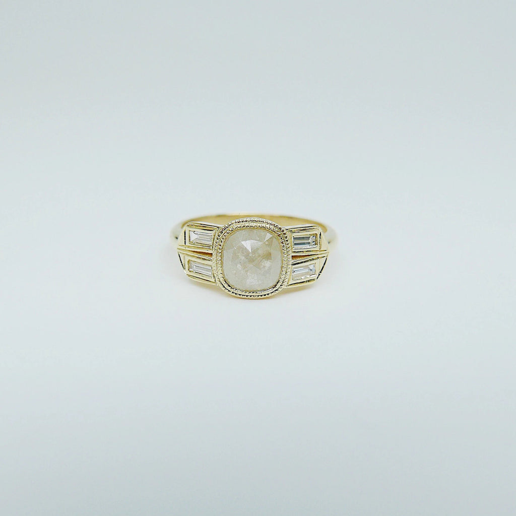 Estelle Rose Cut Grey Diamond Ring, baguette diamond ring, cushion cut diamond ring, 14k gold ring, OOAK ring, one of a kind ring