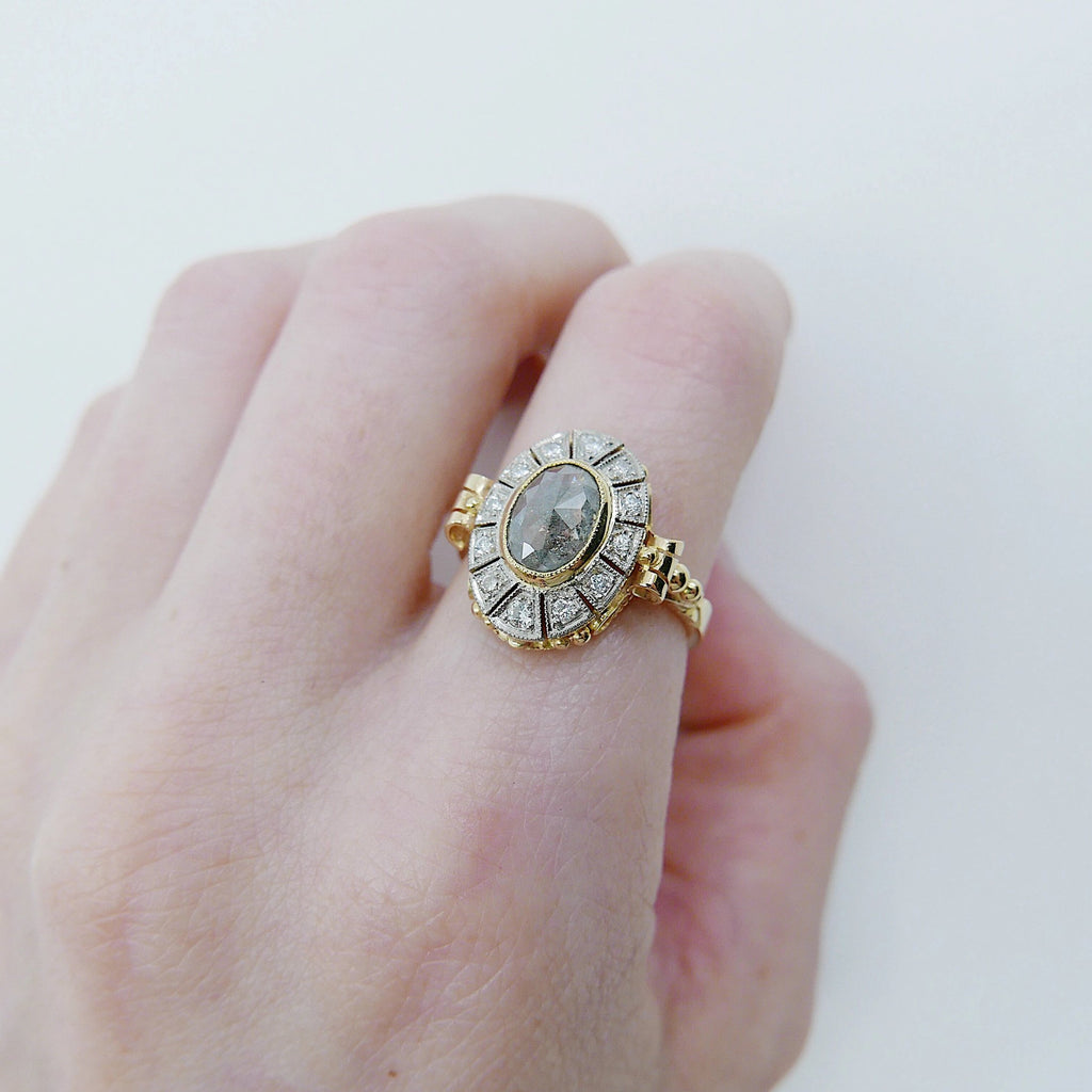 Margaret Rose Cut Grey Diamond Ring, 18k Yellow Gold & Palladium Ring, Two Tone Ring, OOAK ring, unique engagement ring, rose cut diamond