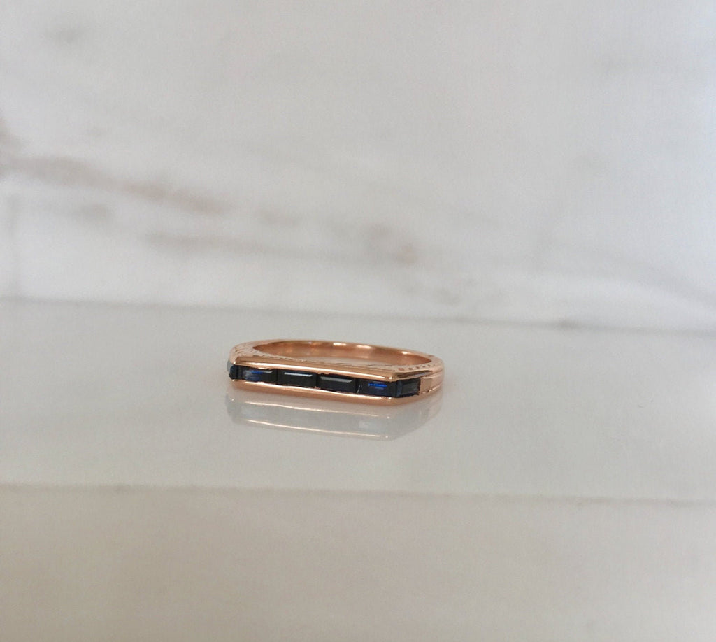 Infinity Sapphire Band, Sapphire bar band, band w sapphire baguettes, Sapphire baguette ring, sapphire ring, infinity ring, infinity stone