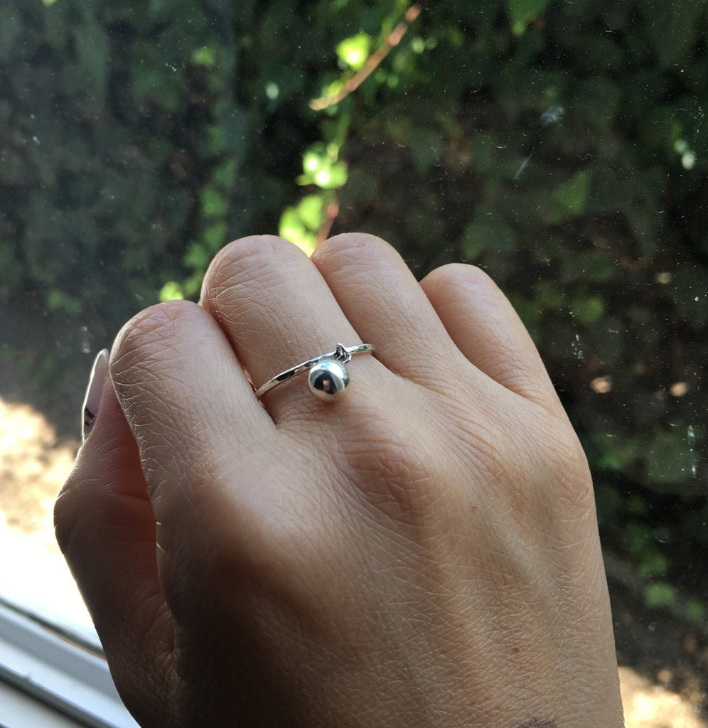 Silver Ball Charm ring, hanging ball ring, silver drop ring, charm ring, dangling ball ring