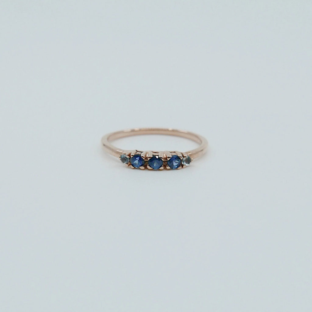 Riley Sapphire Ring, 5 stone gold ring, sapphire aquamarine ring, 14k gold sapphire ring, rainbow sapphire band