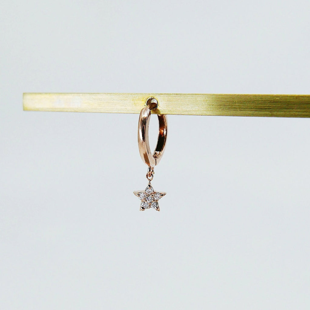Diamond Star Charm Hoop, small 14k gold diamond hoop, 6 diamond gold hoop, diamond star gold hoop, diamond hoop, star hoop