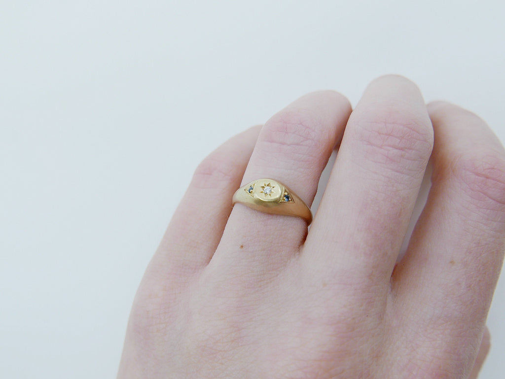 Dome Signet Ring, 14k diamond ring, blue sapphire ring, signet ring, pinky ring, gold pinky ring, gold signet ring, diamond pinky ring