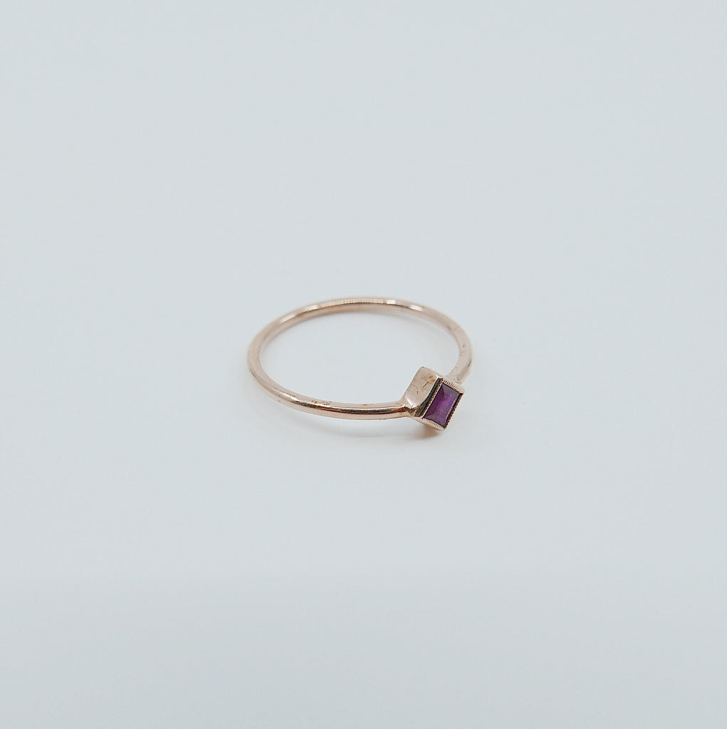 Square Bezel Ruby Ring, red ruby bezel ring, ruby stacking ring, ruby ring, square ruby ring, gold square band