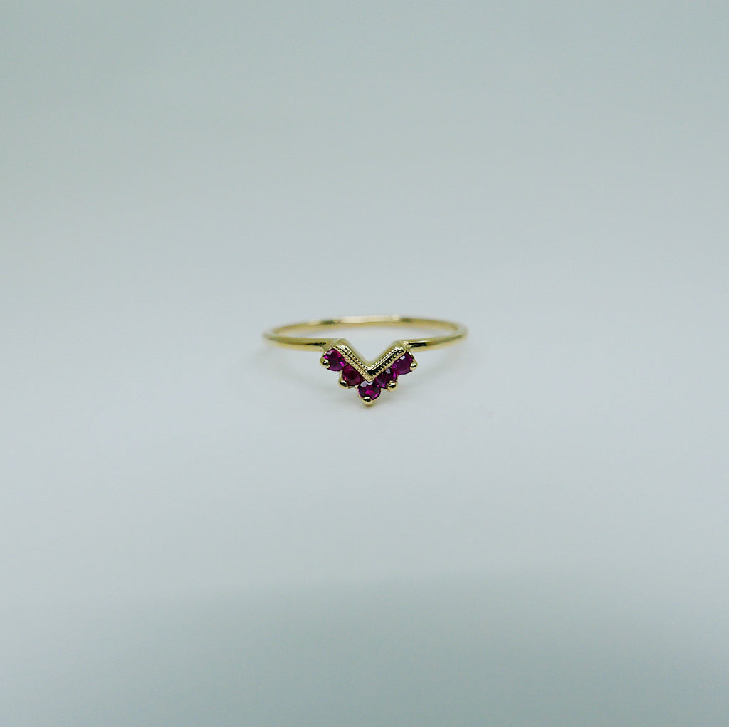 SAMPLE SALE! Chevron Milgrain Ruby Ring, One of a Kind Ring, Ruby Ring, Chevron Ring, 14k Gold chevron ring, ruby chevron ring