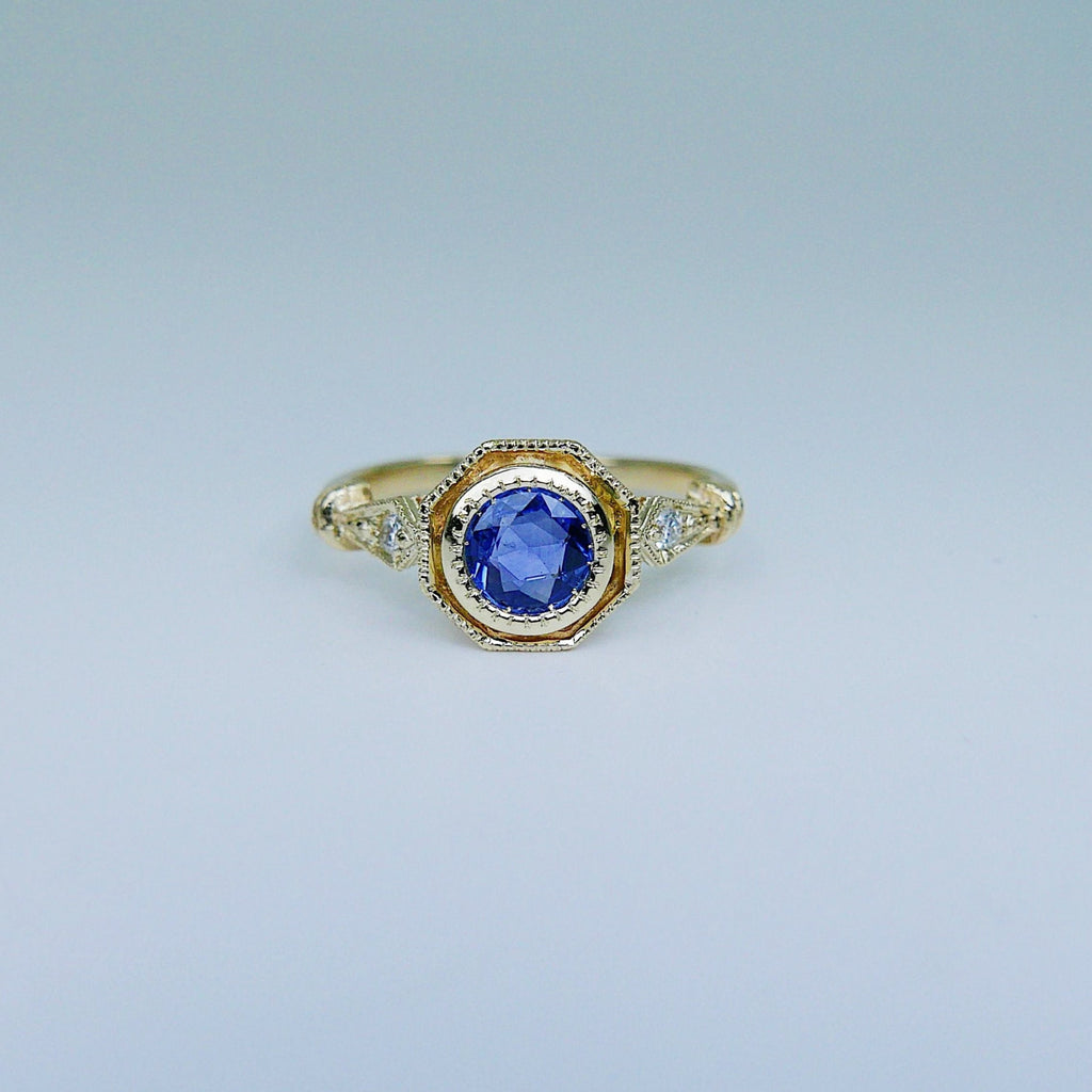 Eloise Bezel Sapphire Ring, sapphire and diamond ring, 14k gold ring, blue stone ring, 14k sapphire ring, 14k sapphire and diamond ring