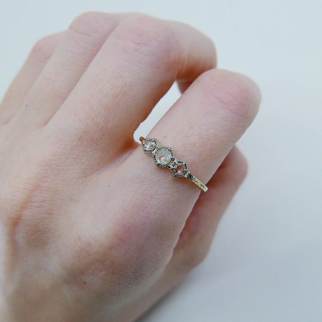 Triple Frame Ring, diamond bezel ring, OOAK ring, diamond stacking ring, diamond ring, triple stone ring, three stone ring, two tone ring