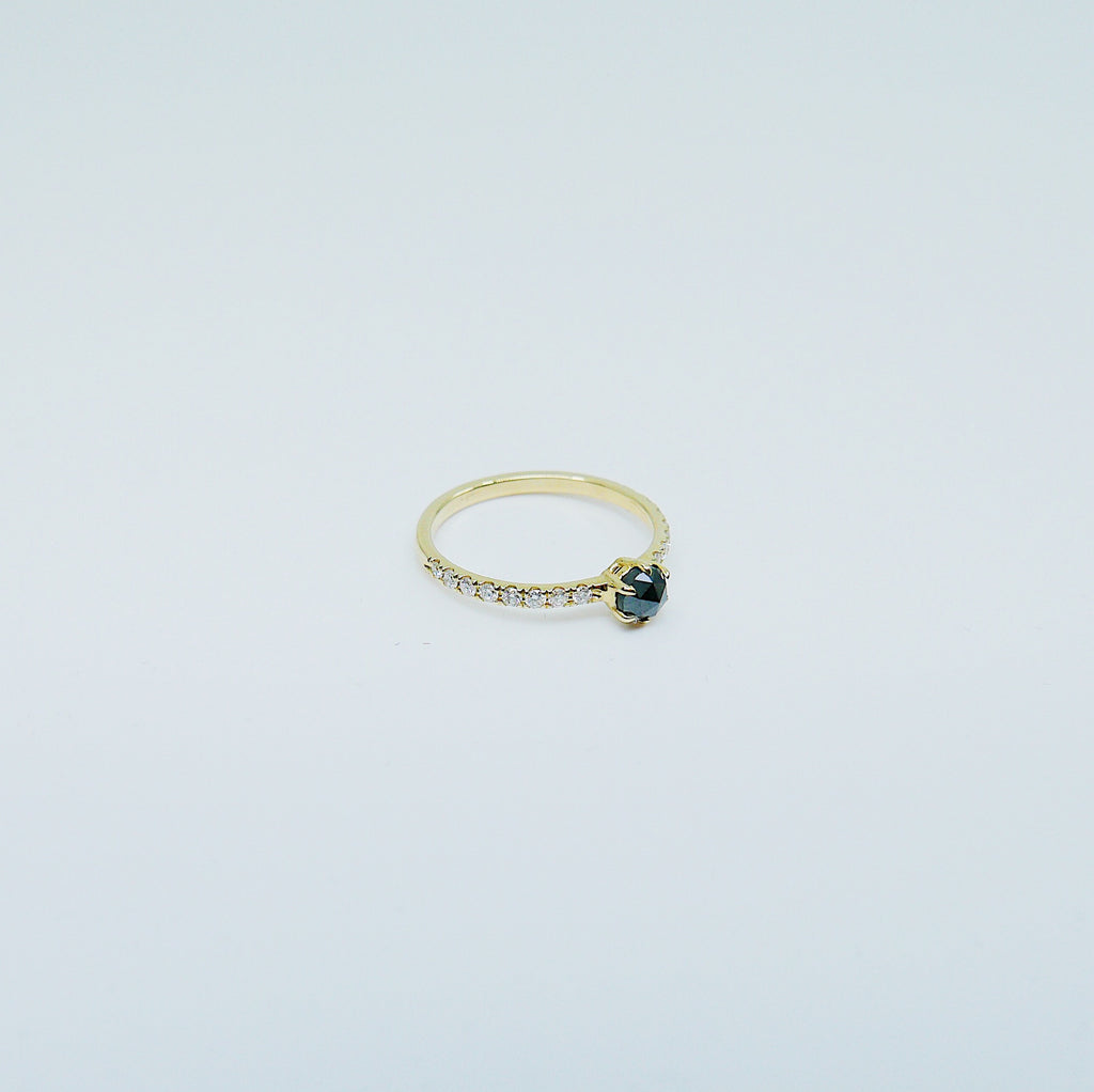 Rose Cut Black Diamond Ring, alternative wedding ring, unique non traditional engagement ring, 14k stacking ring, black & white diamonds