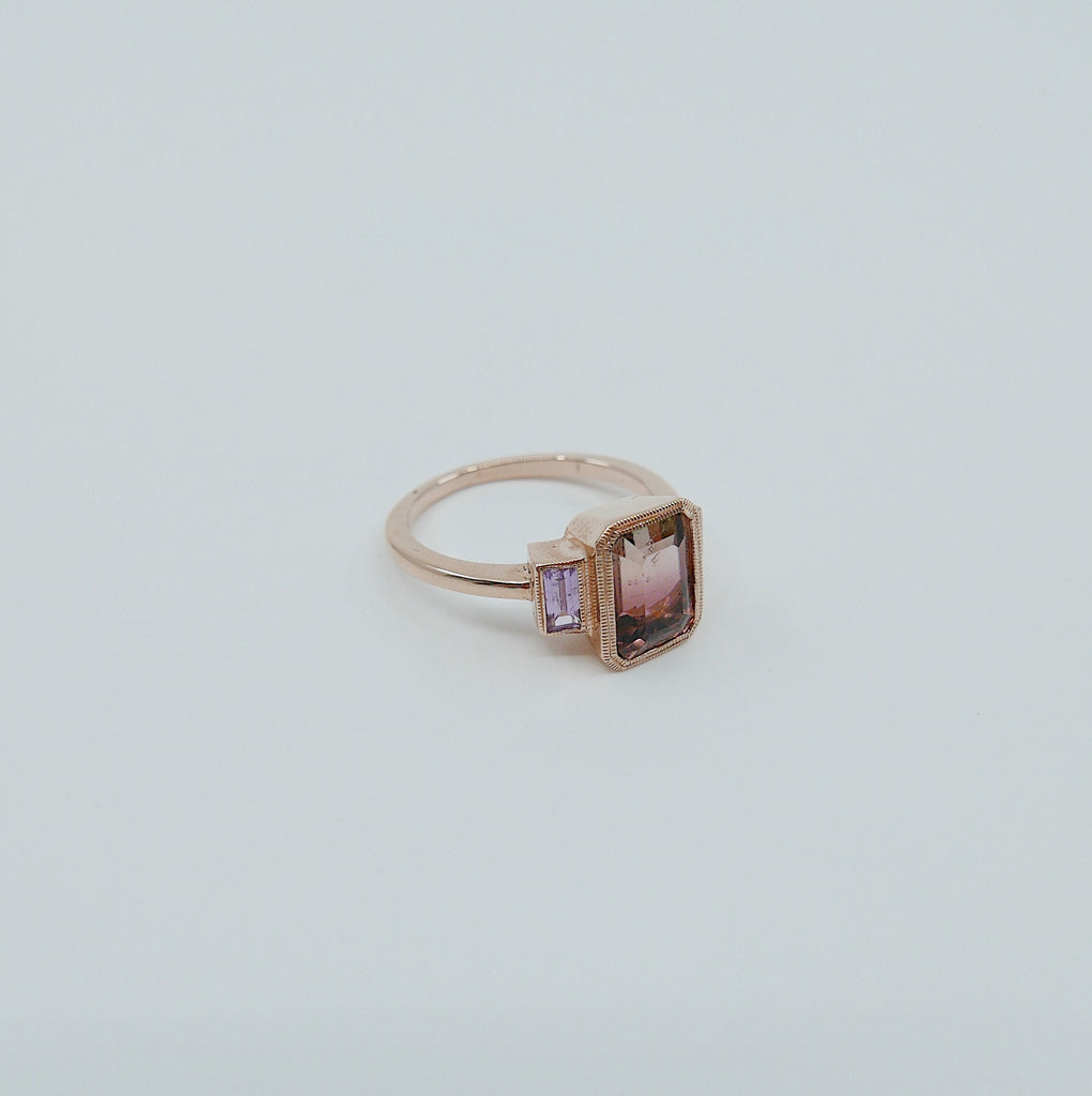 Charlotte Three Stone Ring, bi-color tourmaline emerald cut ring, tourmaline ring, pink sapphire wedding ring, classic engagement ring