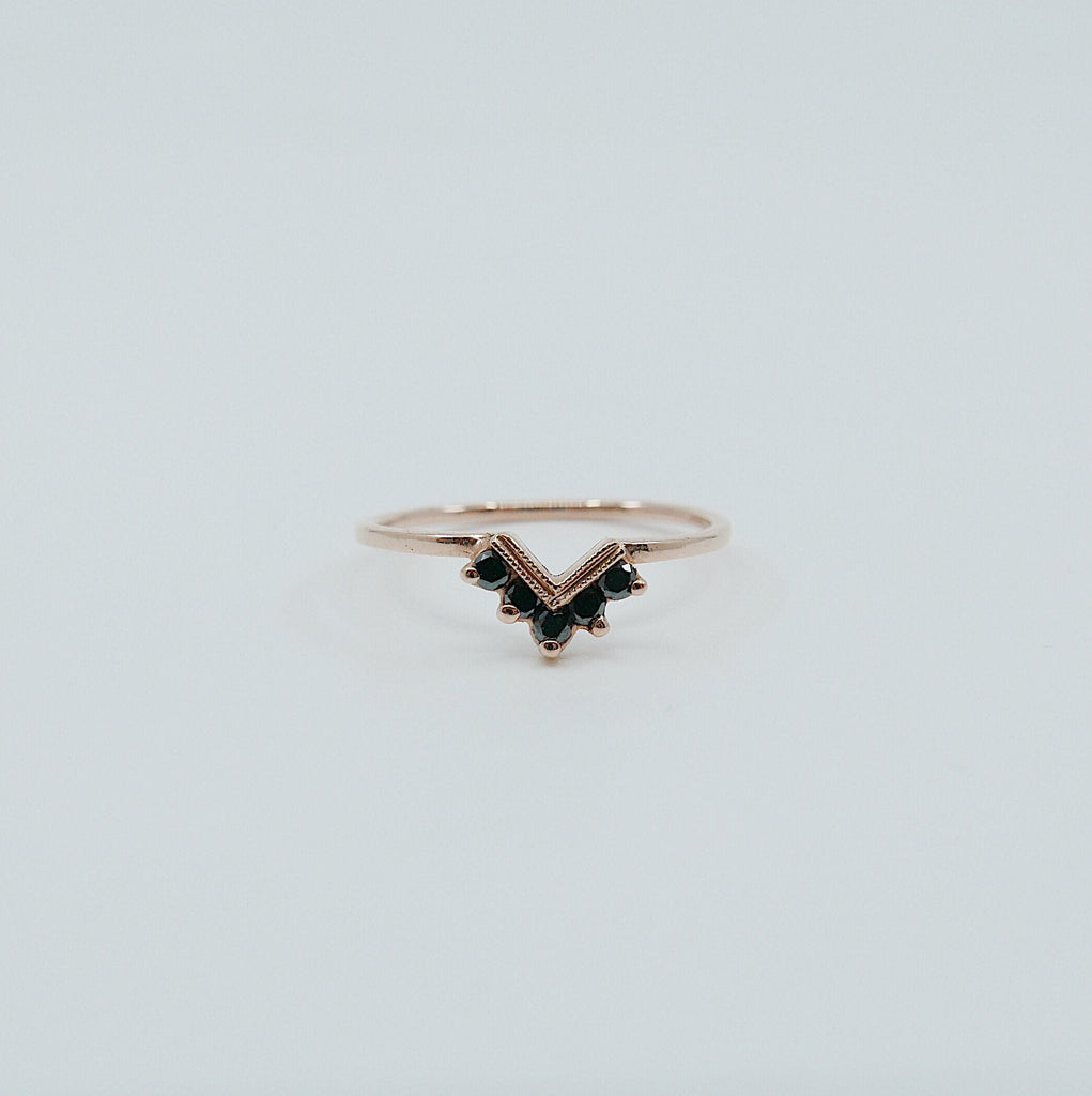 Chevron Black Diamond Ring, Black Diamond Ring, Chevron Ring, 14k Gold chevron ring, black diamond ring, diamond chevron ring