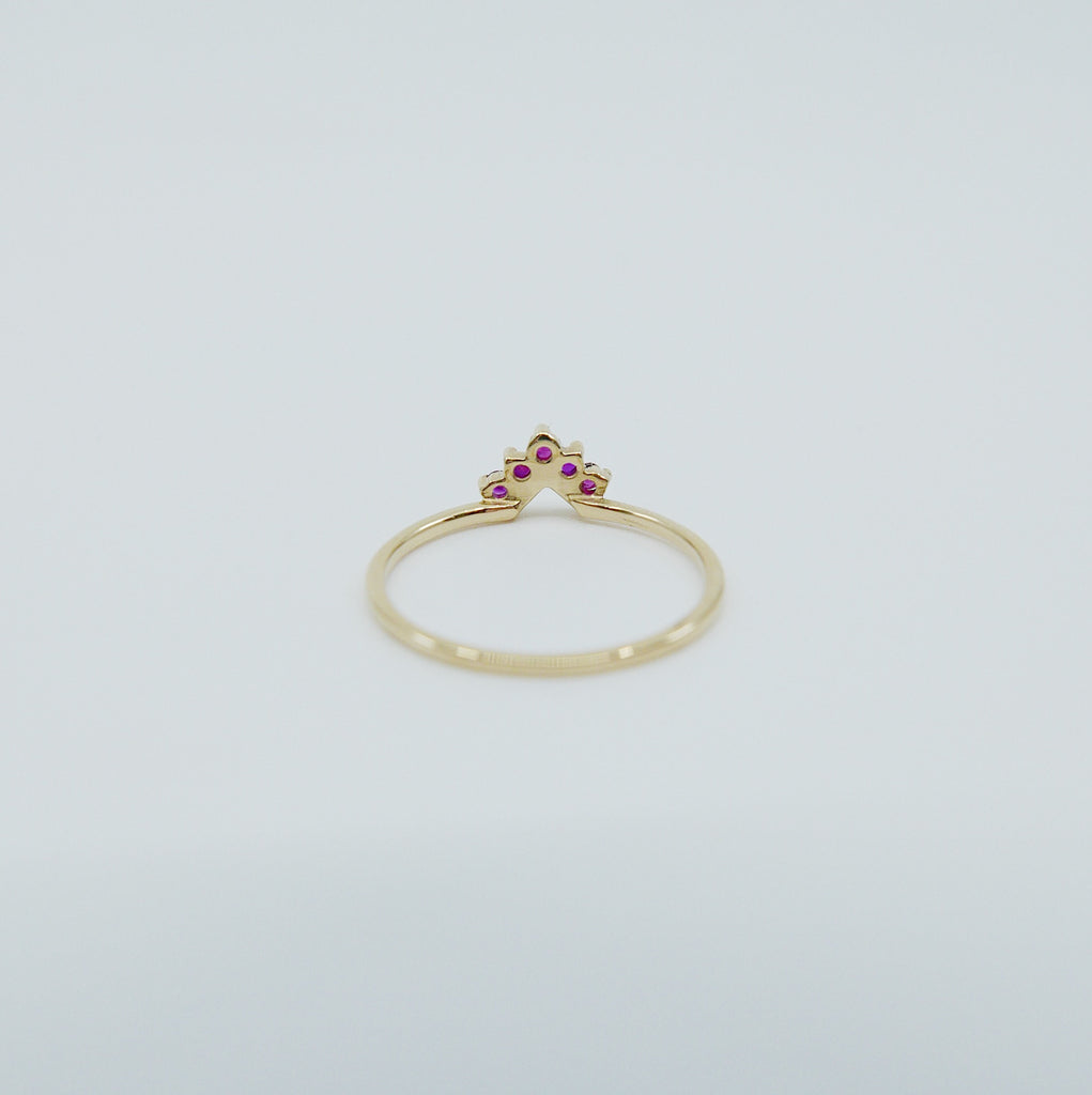 Chevron Ruby Ring, Ruby Ring, Chevron Ring, 14k Gold chevron ring, deep pink ruby ring, ruby chevron ring