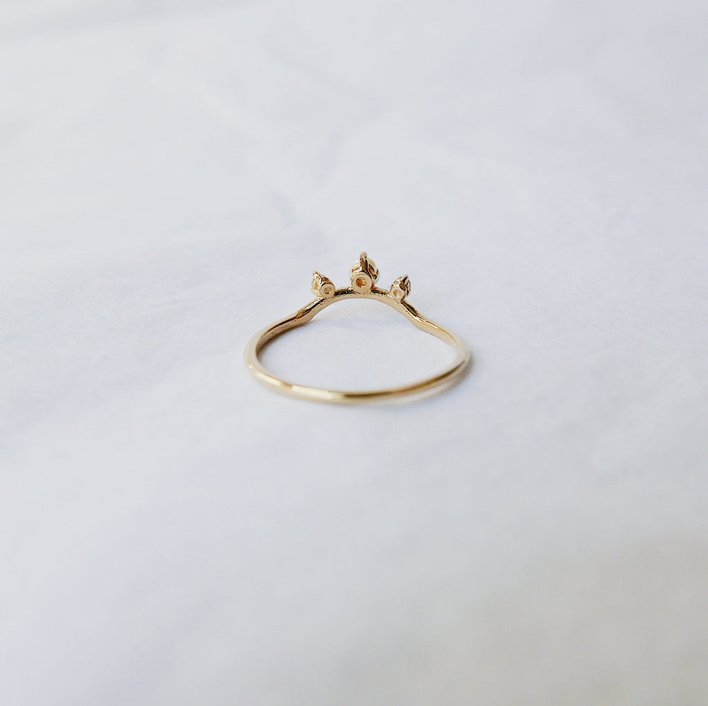Scattered Nesting Pearl Ring, pearl and diamond ring, 14k gold arc ring, delicate dainty thin ring, thin band, stacking ring, wedding band