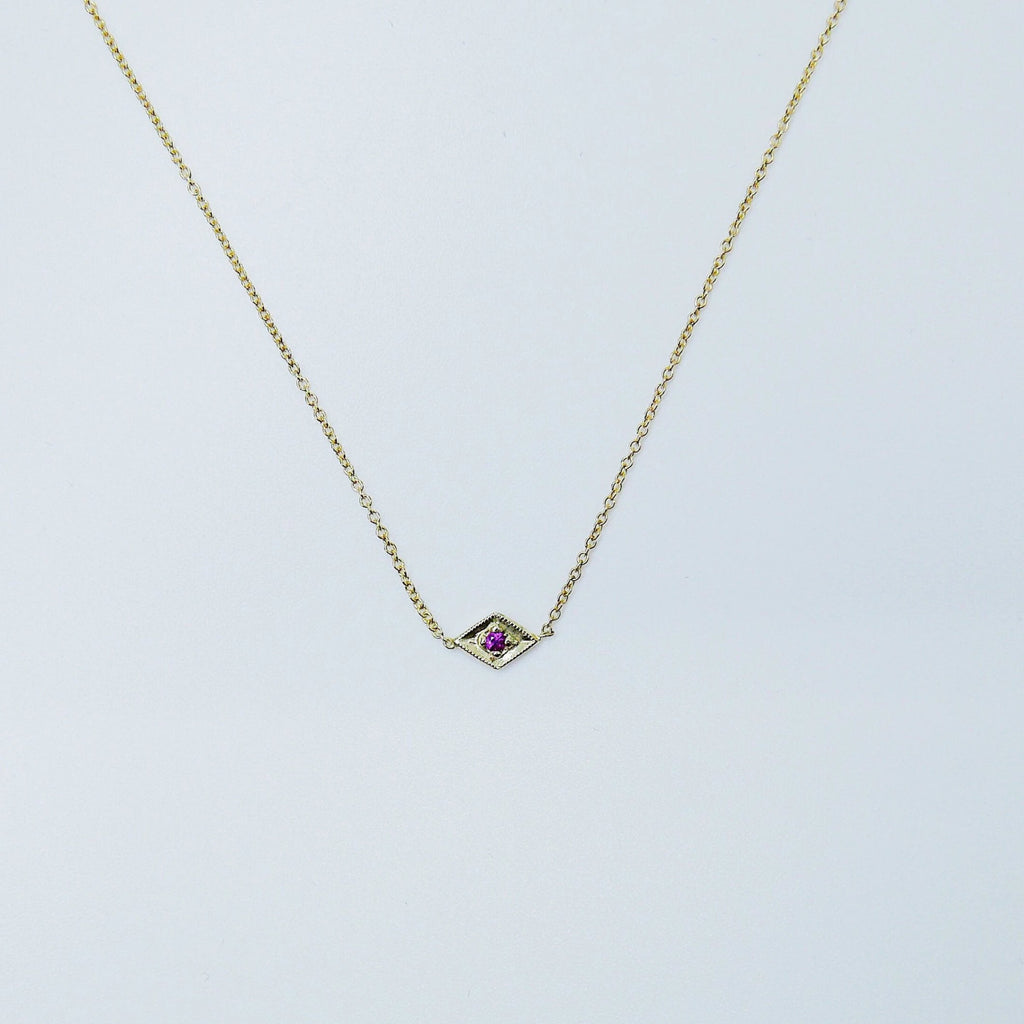 Kite Ruby Necklace, Modern kite necklace with Ruby, kite necklace, gold and ruby necklace, ruby necklace, diamond shaped necklace