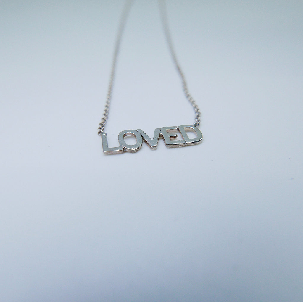 Loved Necklace, love necklace, Silver loved necklace, silver love necklace, silver love, text necklace, word necklace, gift