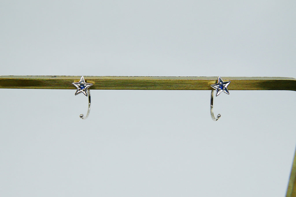 Sapphire Star Hook Earrings, star earrings, star hook, sapphire open hoop, hook earring, sapphire star earring, sterling silver cuff hook