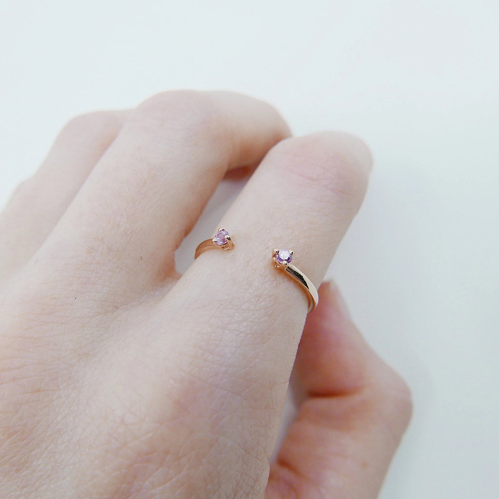 Mini pink sapphire cuff Ring, open Stacking ring, Simple pink stone ring, sapphire open band, small cuff ring, dainty gold band