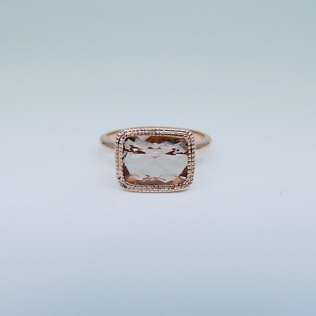 Cushion Morganite Ring, rose gold morganite ring, Rose Cut Bezel ring, statement ring, fine jewelry ring, morganite cushion rose cut ring