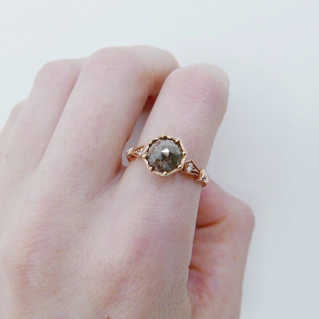 Eloise Rustic Diamond Ring, One of a Kind Ring, 14k rose gold ring, vintage inspired ring, rustic diamond ring, OOAK ring, statement ring