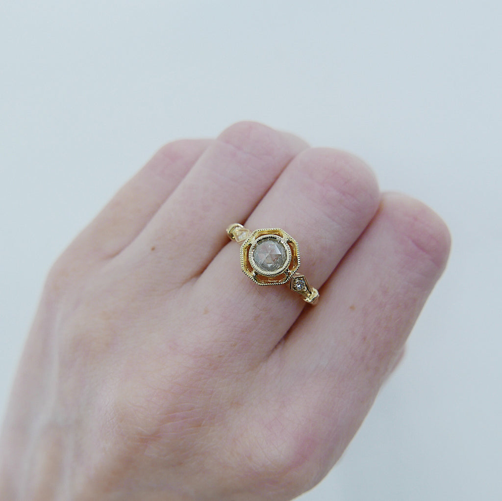 Webbed Eloise Rose Cut Grey Diamond Ring, One of a Kind Ring, OOAK, 14k yellow gold ring, vintage inspired ring, rustic diamond ring