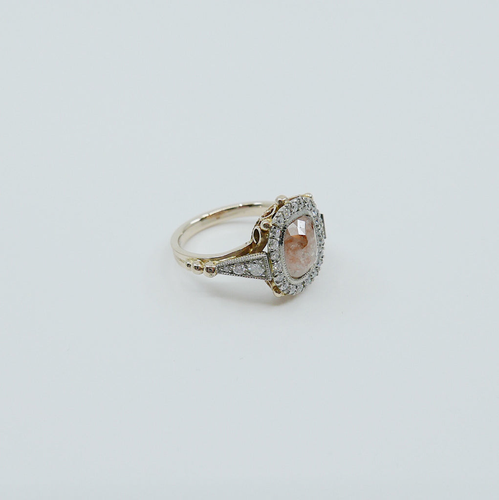 Countess Rose Cut Peach Diamond Ring, Two Tone 14k Yellow Gold & Palladium Ring, OOAK ring, unique engagement ring, rose cut diamond ring