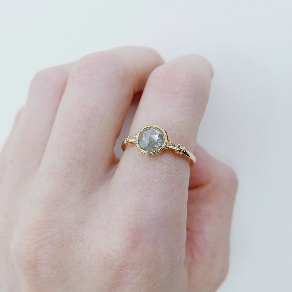 Anya Rose Cut Grey Diamond Ring, one of a kind ring, unique engagement ring, rose cut diamond ring, three stone diamond ring, OOAK ring