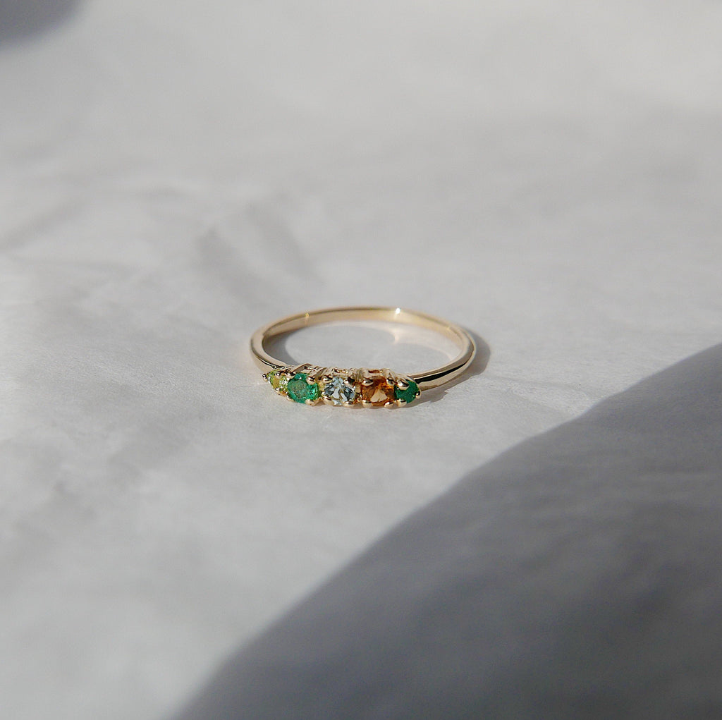 Riley PEACE Ring, Acrostic Ring, 5 stone gold ring, emerald and diamond ring, 14k gold emerald ring, emerald and diamond band