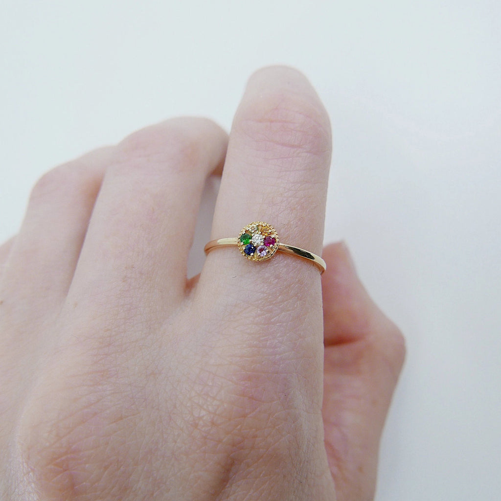 Painter's Palette Ring, 14k multicolor stone circle ring, mini diamond ring, rainbow circle ring