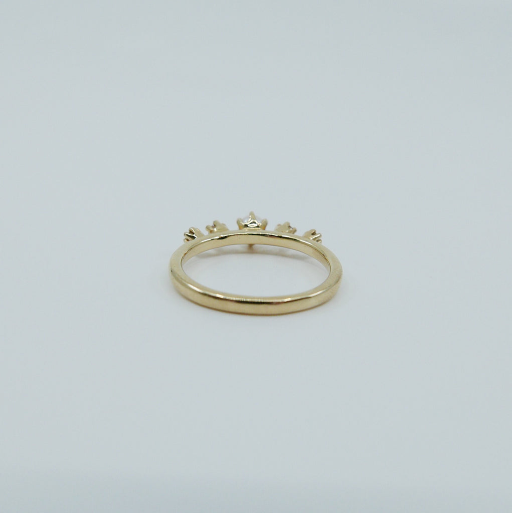 Adeline Pearl with Diamond Ring, 5 stone band, Pearl and Diamond ring, 14k gold stone ring, five stone ring, pearl ring, diamond ring