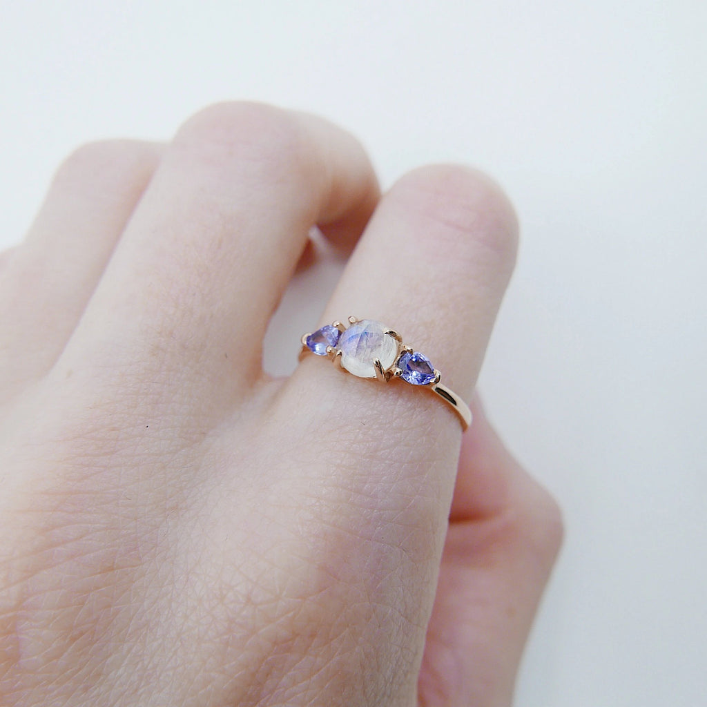 Penelope Rose Cut Moonstone Ring, Moonstone and tanzanite  ring, 3 stone ring, 14k gold moonstone ring